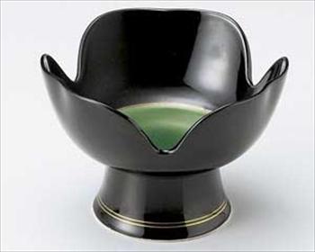 黒釉緑掛分高台小鉢