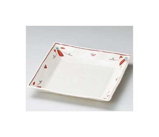 赤絵花正角皿