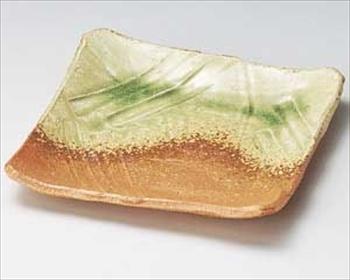 伊賀緑釉正角皿(手造り)