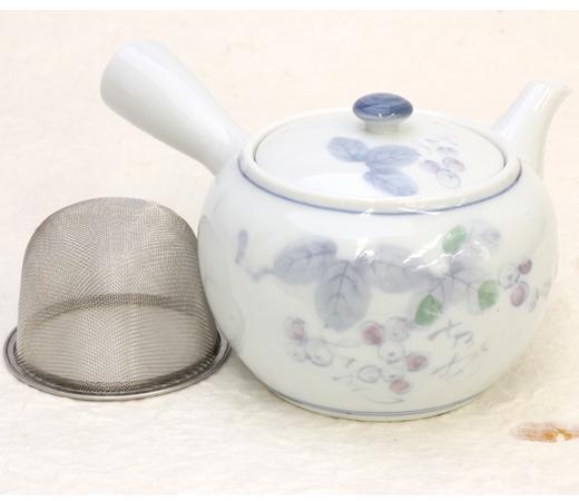 青白磁ぶどう急須(茶コシ付)