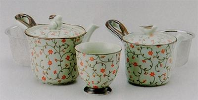 古染錆唐草(赤)中急須(U)&小急須(U)&煎茶