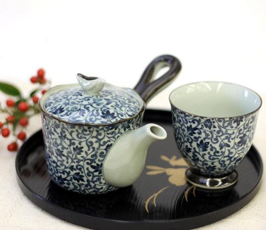 古染つる唐草中急須(U)&小急須(U)&煎茶