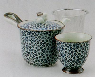 古染花詰中急須(U)&煎茶