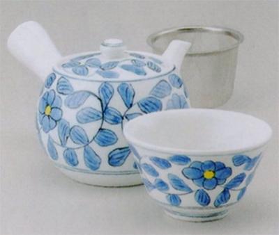 大和唐草中急須(U)&煎茶(厚口)