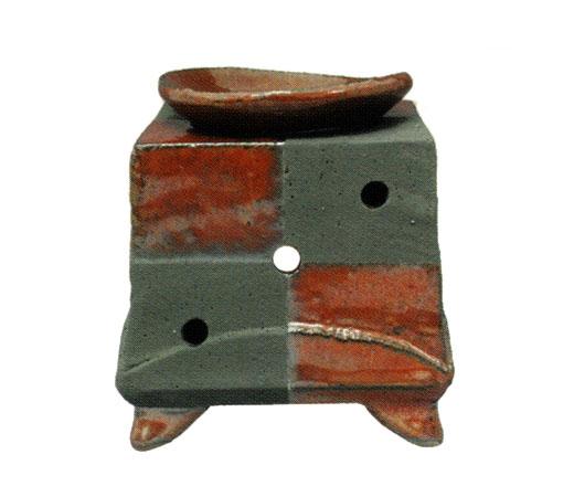 茶香炉 柿釉市松