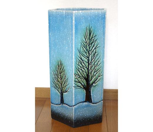 ブルーガラス木立六角傘立